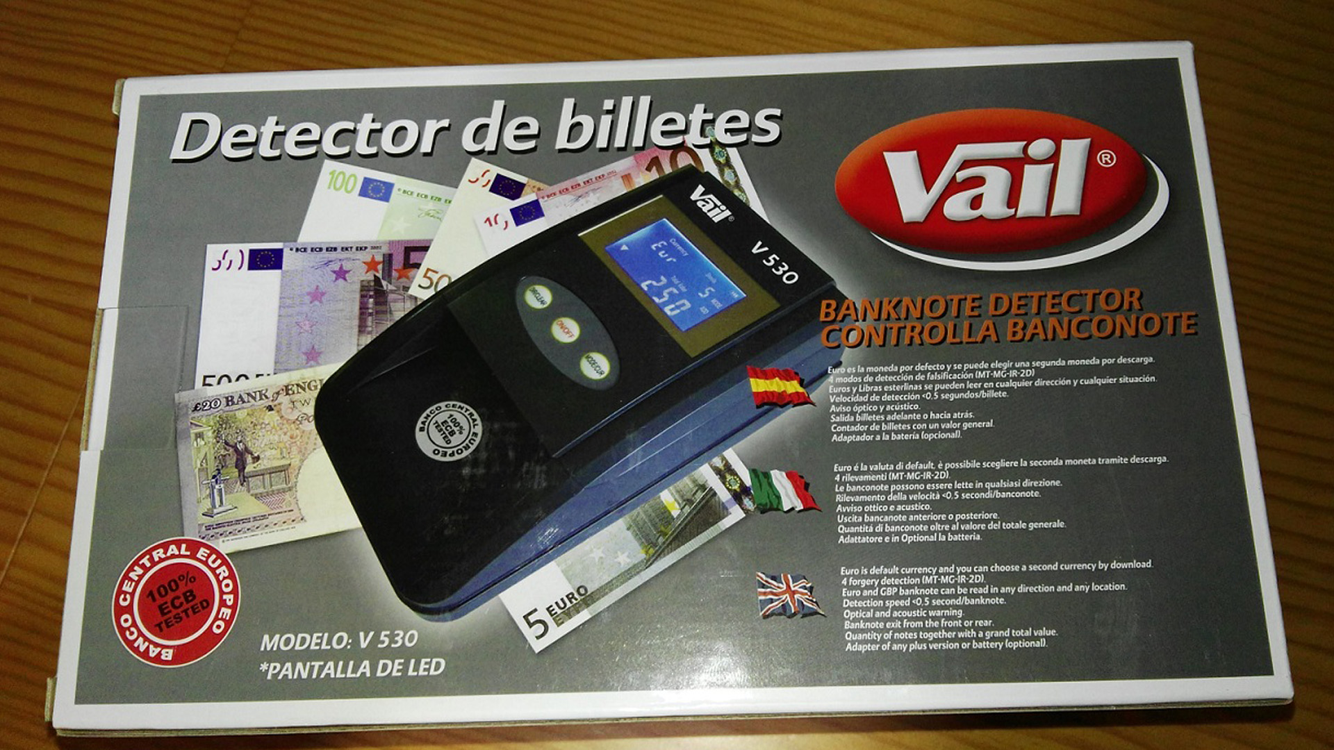 Detector de billetes falsos.